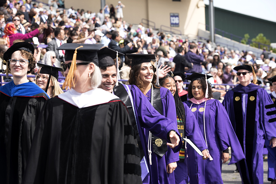Students+with+their+diplomas+during+commencement+in+2019.+Four+individuals+will+receive+their+honorary+degrees+at+the+2020+commencement+ceremony+on+June+19.