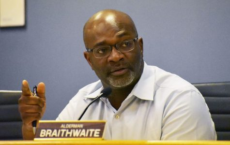 Ald. Peter Braithwaite (2nd) at a City Council meeting. Braithwaite enumerated the qualities of a city manager that members of the 2nd Ward believe to be essential.