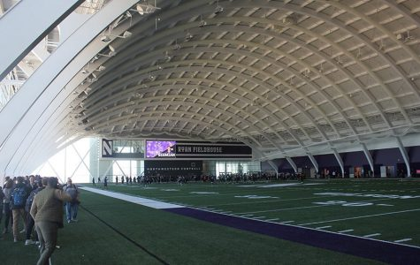 The Northwestern football team practices in Ryan Fieldhouse. The Wildcats will be able to return to Evanston for voluntary workouts starting on June 22.