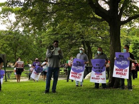Almost three months after layoffs, NU service workers and students rally for worker pay