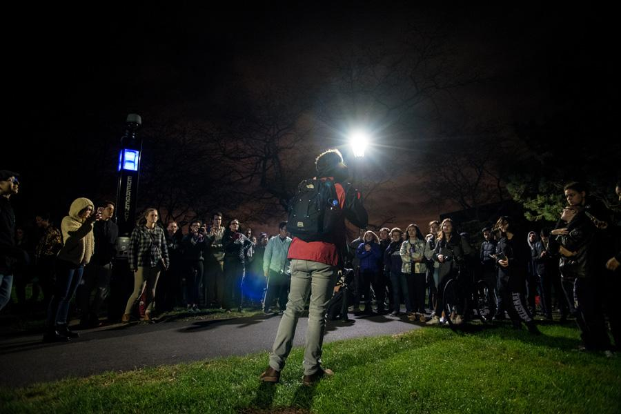Communication senior Hale McSharry addresses students gathered at the Lakefill. The student-organized event aimed to provide a space where students could express opinions and comfort one another as the election drew to a close.