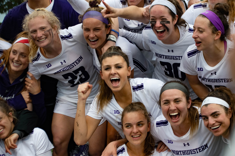 The Wildcats celebrate their 18-14 win over Syracuse on Saturday. NU advanced to the Final Four for the first time since 2014.