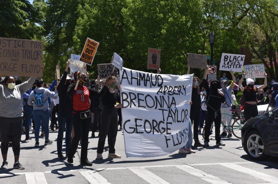 An anti-police brutality protest in Evanston on May 31. On Monday, local activists called on City Council to support black residents.