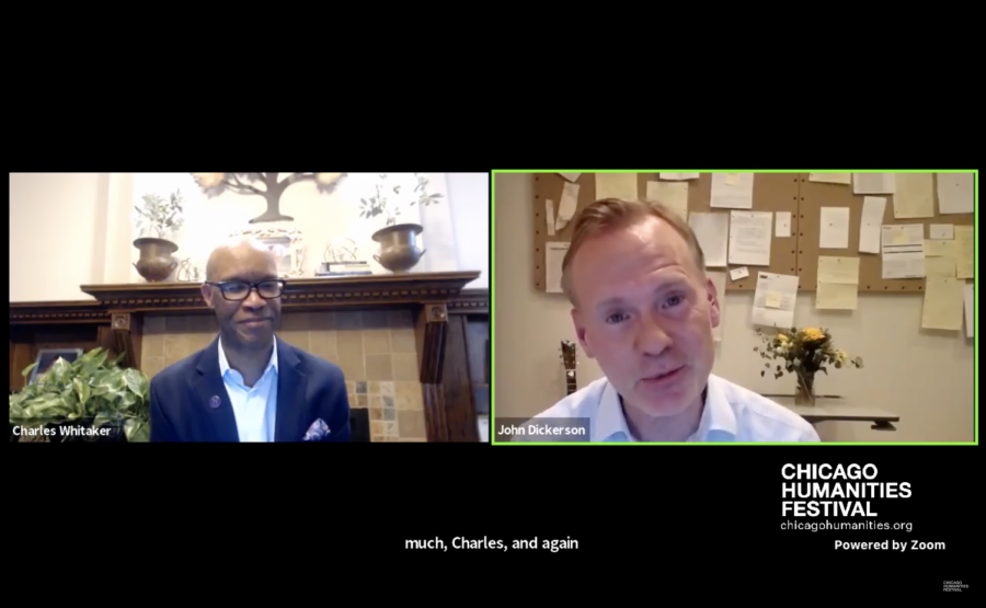 Medill+Dean+Charles+Whitaker+interviews+60+Minutes+correspondent+John+Dickerson+as+part+of+the+Chicago+Humanities+Festival+on+June+24%2C+2020.+Dickerson+discussed+his+new+book+on+the+role+of+the+United+States+president.