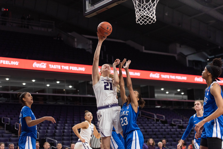 Abbie Wolf goes up for a shot. The former Northwestern center officially signed with Club Deportivo Zamarat — a women's basketball club in Zamora, Spain — on June 24.