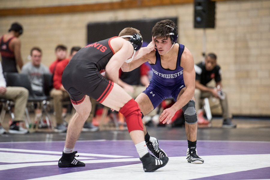 Sebastian Rivera competes against Nebraska. The former Northwestern wrestler and New Jersey native is transferring to Rutgers for his final season of eligibility.
