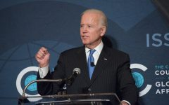 Former Vice President Joe Biden speaks in Chicago in 2017. A recent NU survey found Kamala Harris and Stacey Abrams are at the top of black voters' preferences for his running mate.