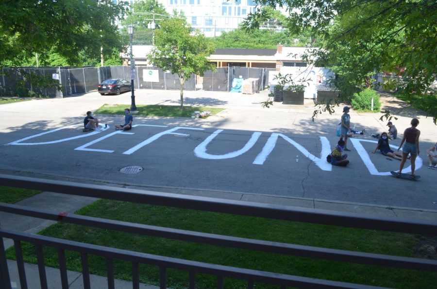 """The painted street in front of Evanston Township High School. On Tuesday, City Council voted to rename the portion of Dodge Avenue """"Black Lives Matter Way."""""""