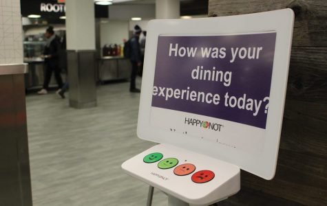 A feedback monitor inside an on-campus dining hall. Today, over 200 dining employees were laid off due to the pandemic.