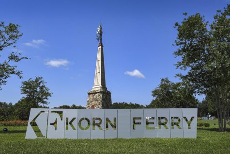 The Korn Ferry Tour logo pictured on a golf course. Former Northwestern golfer David Lipsky recently moved up the tour's ranks