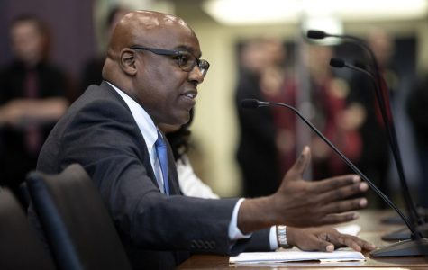 Illinois Attorney General Kwame Raoul at a hearing in 2019 at the Michael A. Bilandic Building in Chicago. Northwestern is participating in a lawsuit filed by Raoul and 17 other state AGs.