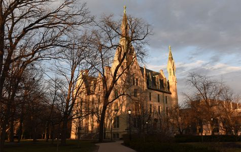 University Hall. Northwestern recently announced it would reinstate faculty and staff retirement contributions after suspending them in May.