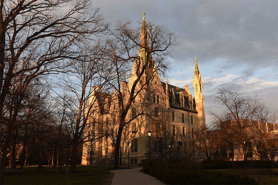 University+Hall.+Northwestern+recently+announced+it+would+reinstate+faculty+and+staff+retirement+contributions+after+suspending+them+in+May.