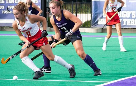 Bente Baekers attempts to steal the ball. Baekers led the Big Ten in shots, goals and points last season.