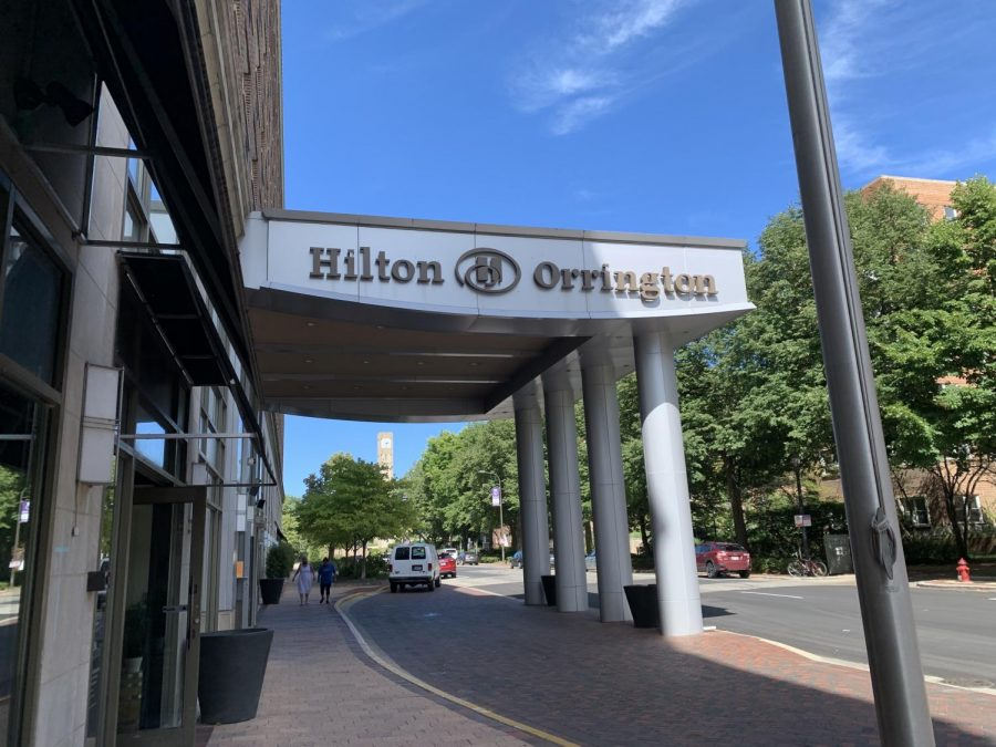 The exterior of the Hilton/Orrington Evanston.