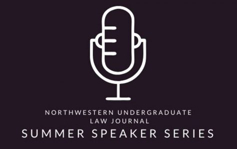 The logo for the NULJ Speaker Series. The series began in early July.