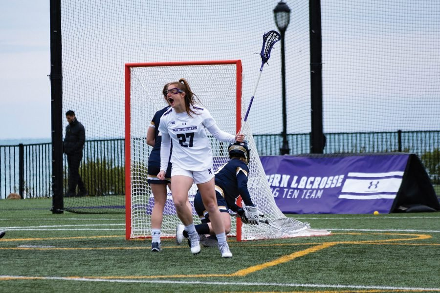 Izzy Scane celebrates a goal. The junior attacker is one of Northwestern's strongest scorers.