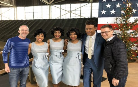 "Curtis Moore (leftmost) and Thomas Mizer (rightmost) with LeRoy McClain and members of the cast of ""The Marvelous Mrs. Maisel"""