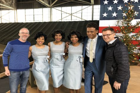 """Curtis Moore (leftmost) and Thomas Mizer (rightmost) with LeRoy McClain and members of the cast of """"The Marvelous Mrs. Maisel"""""""