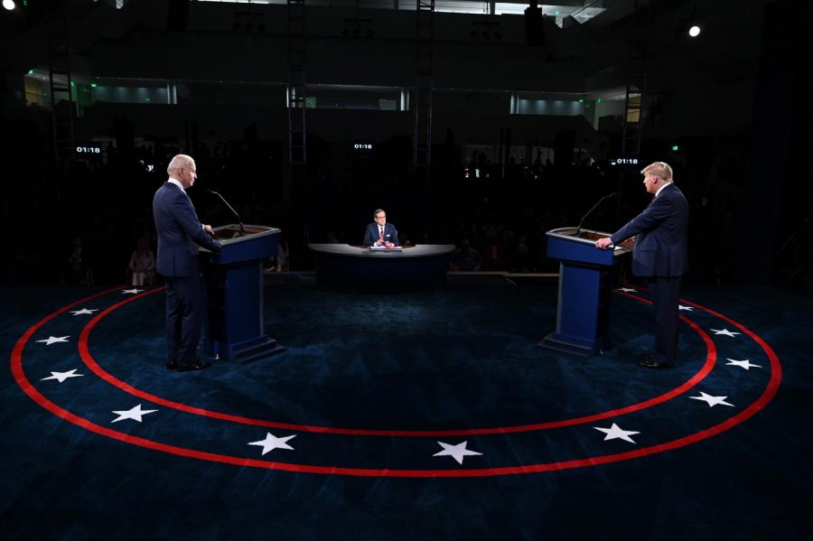 The+first+presidential+debate+between+President+Donald+Trump+and+former+Vice+President+Joe+Biden%2C+moderated+by+Fox+News+anchor+Chris+Wallace.+Trump+and+Biden+squared+off+on+key+issues+like+the+pandemic%2C+economic+recovery+and+policing.%0A