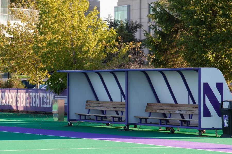 Empty benches on Lakeside Field. The field hockey team is awaiting news on whether their season will begin.