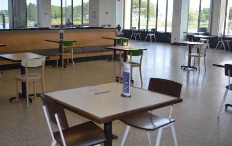 Tables and chairs are spaced six feet apart in preparation for in-person dining at Northwestern.