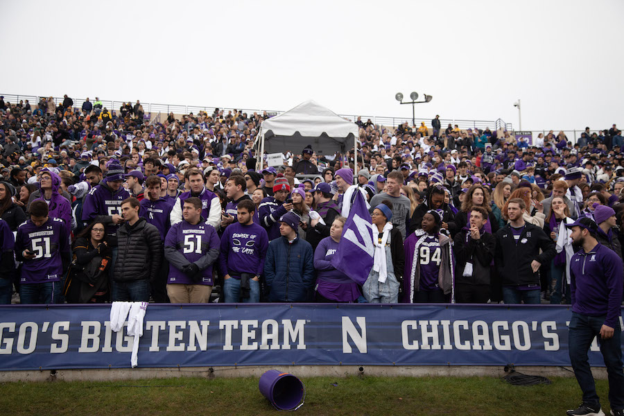The Northwestern student section at Ryan Field. Wildside will look to host other virtual events this fall, while large in-person gatherings are not permitted.