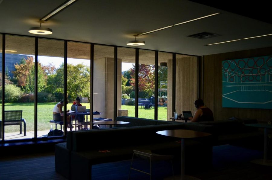 Norris University Center. Though usually packed during midterms, the quiet atmosphere of Norris this fall promotes distanced studying opportunities for students on campus.