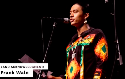 A screenshot of Frank Waln, Indigenous Peoples' Day Concert headliner. He kicked off the evening with a land acknowledgement that recognized the homelands Chicago occupies.