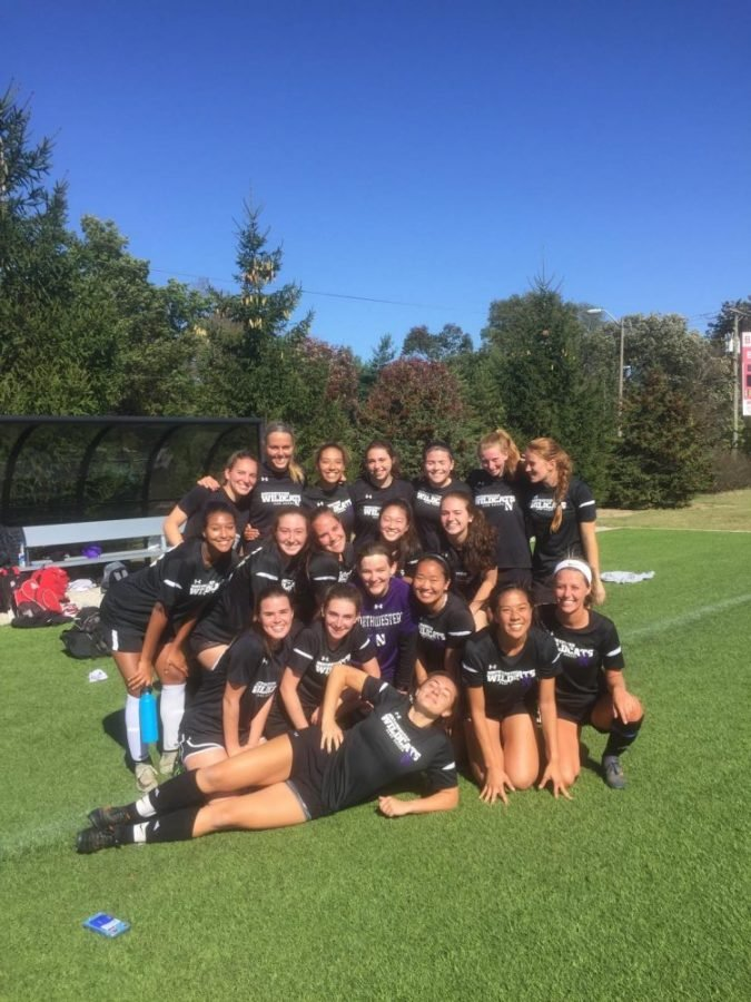 The women's club soccer team after a win at Ball State University last October. (Photo courtesy of Hannah Cheves.)