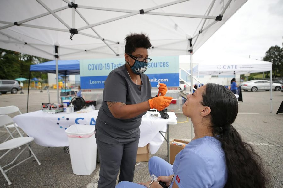 COVID-19 testing at the Community-Accessible Testing & Education truck in Philadelphia on September 25, 2020. Evanston city officials and medical experts are encouraging residents to get vaccinated ahead of this year's flu season.