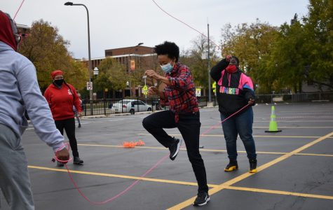 """Evanston and Chicago residents gather to celebrate Breonna Taylor's life. Melissa Blount said she organized """"Jump Off for Breonna Taylor"""" to cultivate joy and community."""