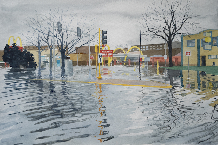 """Des Plaines McDonald's"" by Meredith Leich, one of the artists in this collaboration. It is part of the series ""Chicago and the Rain"" and uses watercolors to portray flooding and high precipitation events in Chicago."