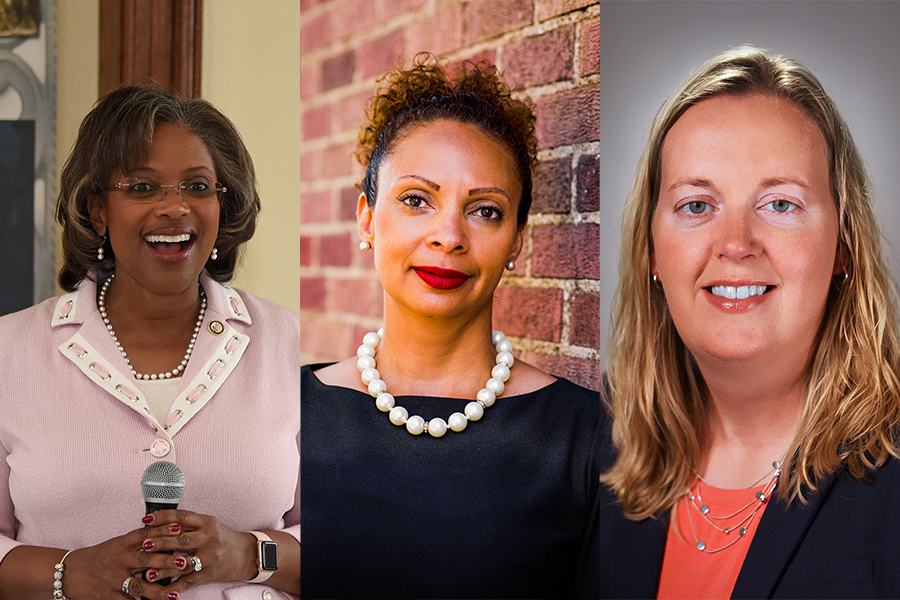 The three finalists for Evanston's city manager position. From left to right, the finalists are Aretha Ferrell-Benavides, Marie Peoples and Erika Storlie.