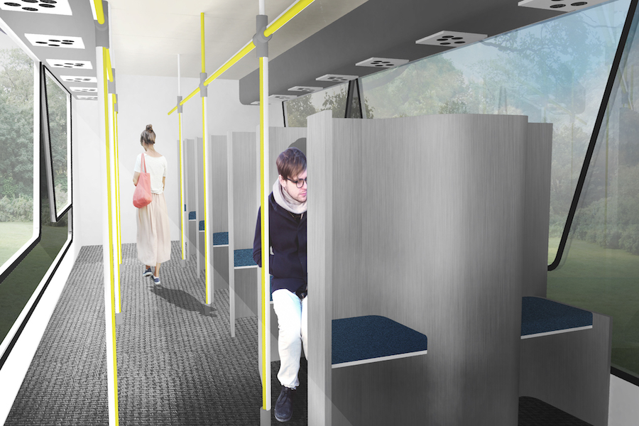 A+digital+rendering+of+the+interior+of+Futurebus.+The+large+side+door+is+pictured+on+the+left%2C+and+the+plexiglass-separated+alternating+seats+are+on+the+right.+