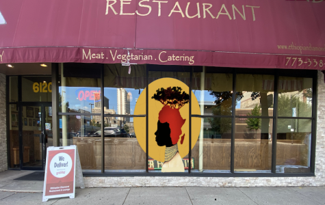 """Ethiopian Diamond,"" a window painting Ryan Tova Katz made for the Ethiopian Diamond restaurant in Edgewater as part of an outdoor art exhibit."