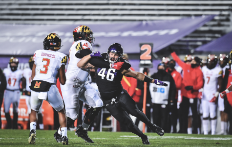 Devin O'Rourke goes in for a tackle. The Northwestern defense held Maryland's first-year quarterback to under 100 yards in the air.