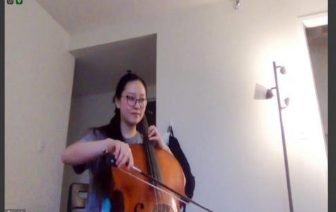 Bienen junior Jaime An plays her cello over Zoom, utilizing the newly improved audio features. By using high-fidelity music mode, the sound is clear and consistent.