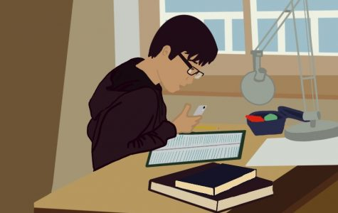 A student is studying at home. Many ETHS graduates were not able to physically attend their first year at college, and instead started school virtually.