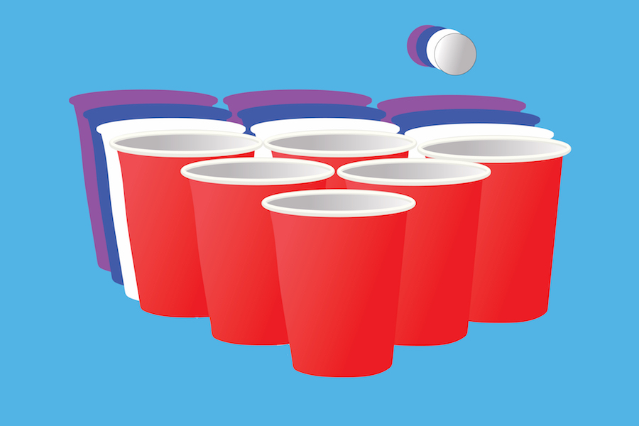 Cups staged for a game of beer pong. Ald. Judy Fiske (1st) brought a potential ban on public drinking games to a Nov. 2 Human Services Committee meeting.