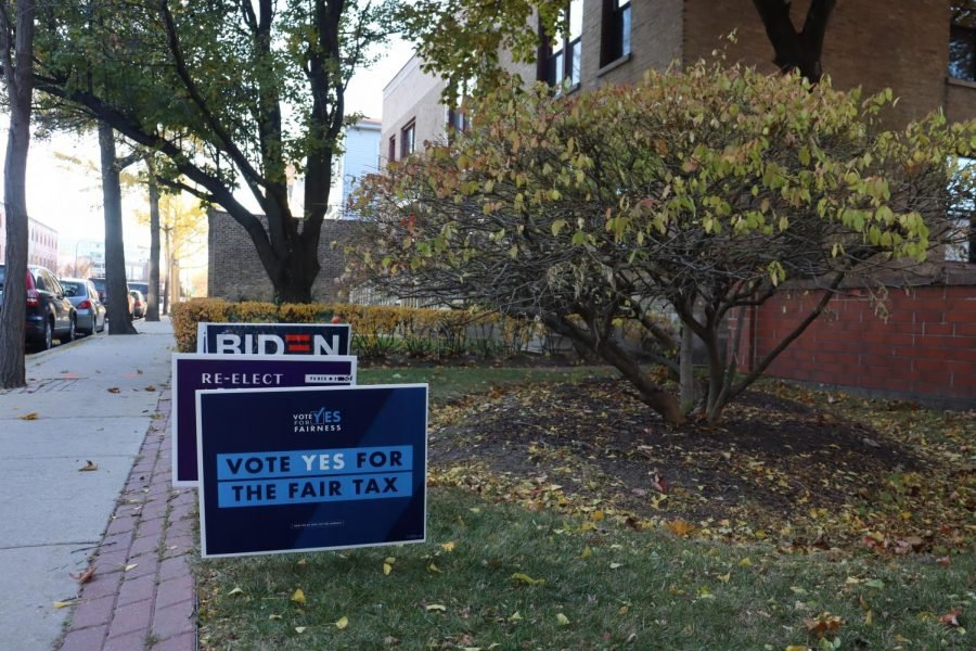 A sign in support of the Fair Tax Amendment outside of an Evanston polling place. While results aren't finalized, it appears the Fair Tax Amendment will not pass.