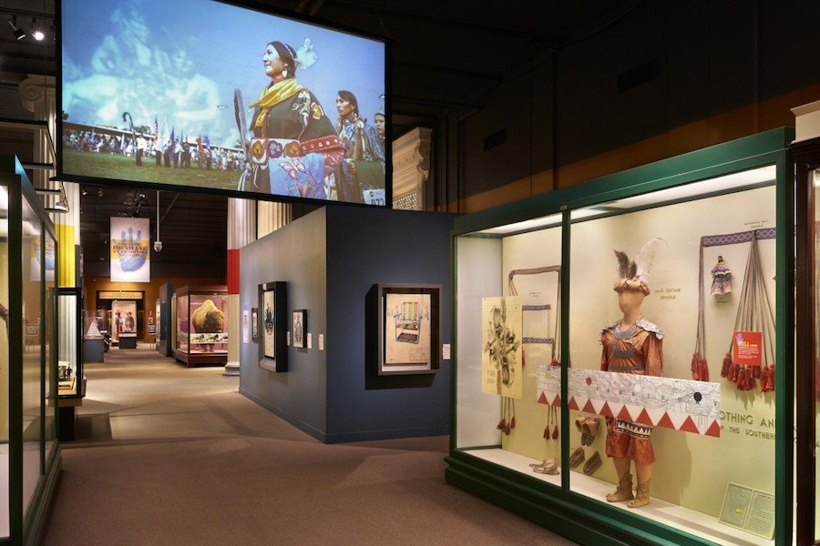 "Indigenous artist Chris Pappan's exhibit ""Drawing on Tradition"" at the Field Museum. As a panelist of Friday's symposium, Pappan utilized the exhibit to challenge viewers to acknowledge and confront contemporary Indigenous presence in museums."