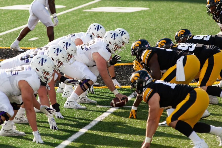 Freshman Peter Skoronski lines up with the offensive line for a snap against Iowa