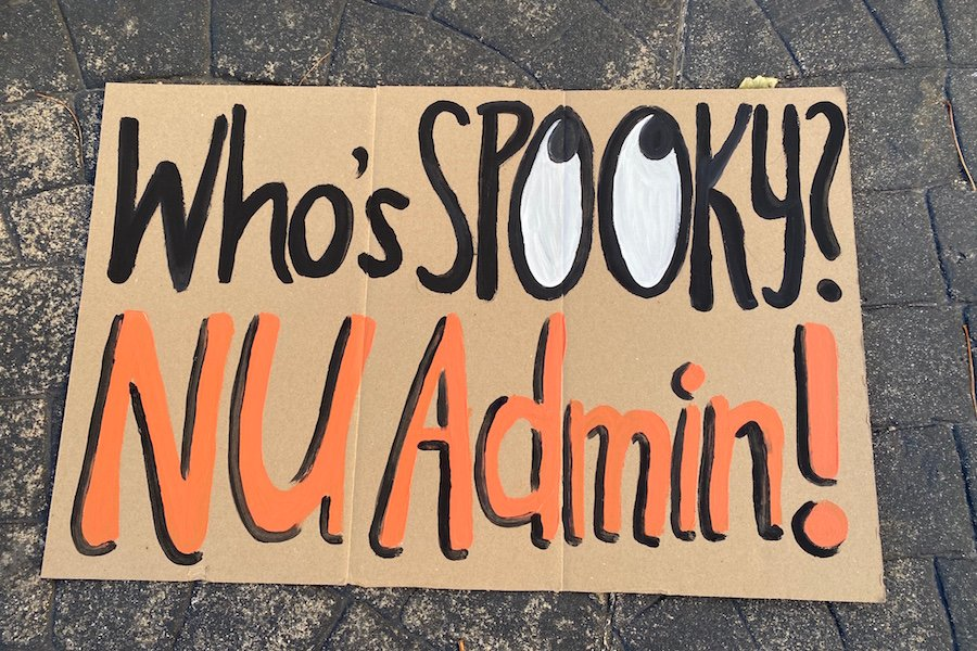 A sign from Friday's protest. The teach-in included a range of abolitionist speakers and a Halloween-themed learning activity.