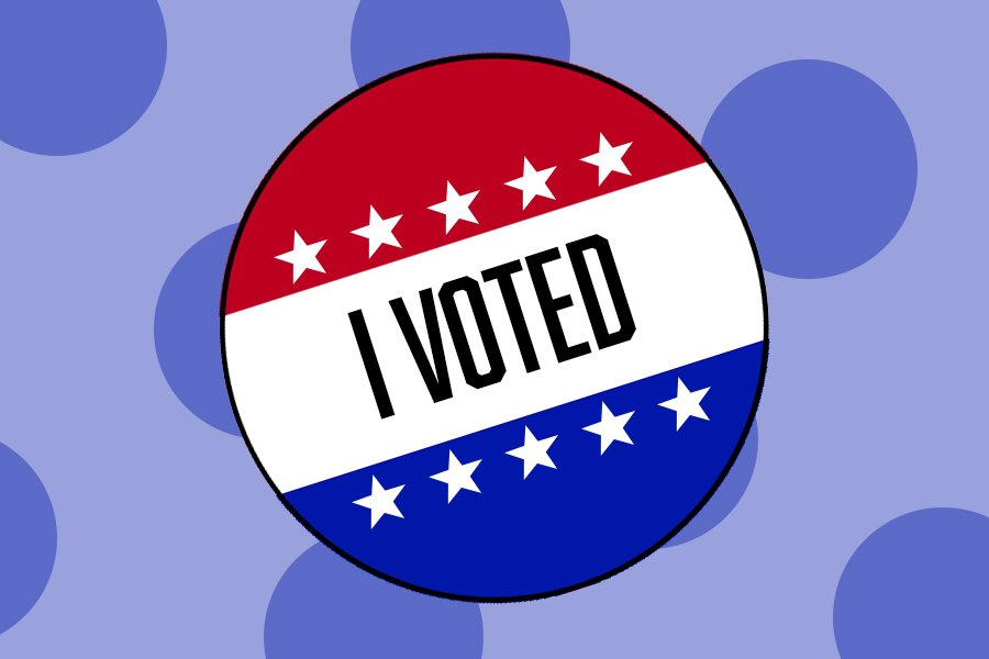 "An illustration of a red, white and blue ""I Voted"" pin with a blue, polka-dotted background"