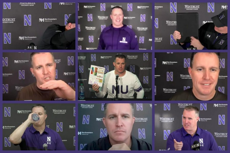 Screengrabs of Pat Fitzgerald at various press conferences.