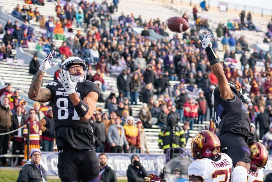 Ramaud Chiaokhiao-Bowman attempts to make a catch against Minnesota. The Minneapolis native chose Northwestern over Cornell, Harvard and Minnesota among others.