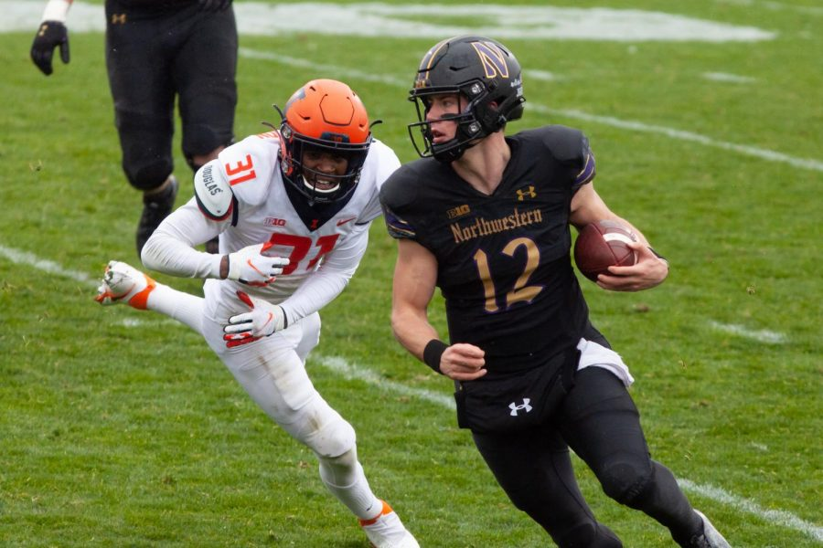 Peyton Ramsey runs with the football. The graduate transfer will be playing in his first Big Ten Championship Game.