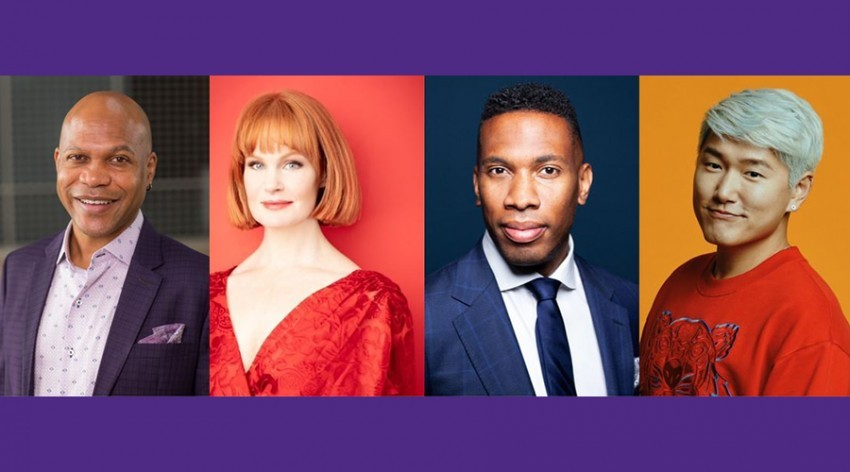 (Pictured left to right) School of Communication Dean E. Patrick Johnson, actress/singer Kate Baldwin, conductor Roderick Cox and opera singer Kangmin Justin Kim.