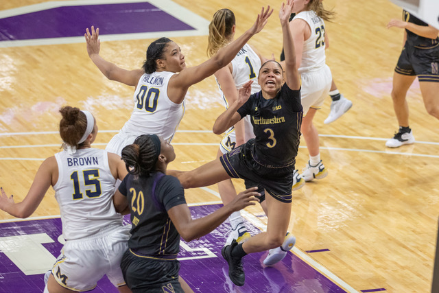 Sydney Wood goes up for a layup. The junior guard scored 14 points in No. 22 Northwestern's 80-55 win over Wisconsin.